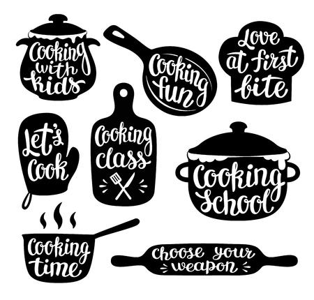 Sammlung von Kochetikett oder Logo. Handgeschriebene Beschriftung, Kalligraphie, die Vektorillustration kocht. Koch, Koch, Küchenutensilienikone oder -logo.