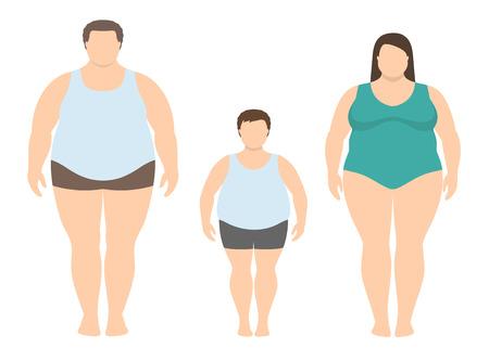 Hombre gordo, mujer y niño en estilo plano. Ilustración de vector de familia obesa. Concepto de estilo de vida poco saludable.