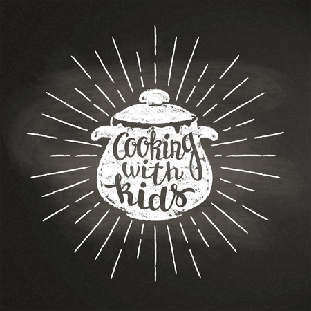Chalk silhoutte of boiling pan with sun rays and lettering - Cooking with kids - on blackboard. Good for cooking bades, menu design or posters. Stock Vector - 101685624
