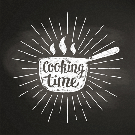 Hot pot chalk silhoutte with sun rays and lettering - Cooking time - on blackboard. Good for cooking bades, menu design or posters.