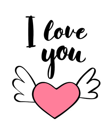 Hand written lettering I love you and heart shape for Valentines day card, poster, t-shirt print or label. Vector valentines day illustration. Stock Vector - 101685625