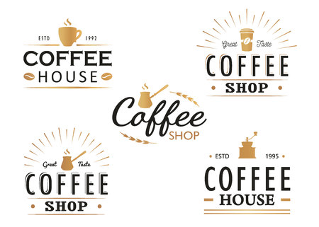 Set of vintage Coffee icon templates, badges and design elements.icon collection for coffee shop, cafe, restaurant. Vector illustration. Hipster and retro style.