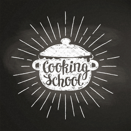 Chalk silhoutte of boiling pan with sun rays and lettering - Cooking with kids - on blackboard. Good for cooking bades, menu design or posters. Stock Vector - 101685635