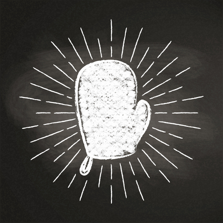 Chalk silhoutte of a mitten with vintage sun rays on blackboard.Good for cooking bades, menu design or posters.