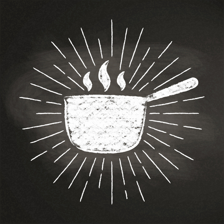 Chalk silhoutte of hot pot with vintage sun rays on blackboard. Good for cooking bades, menu design or posters. Stock Vector - 101685632