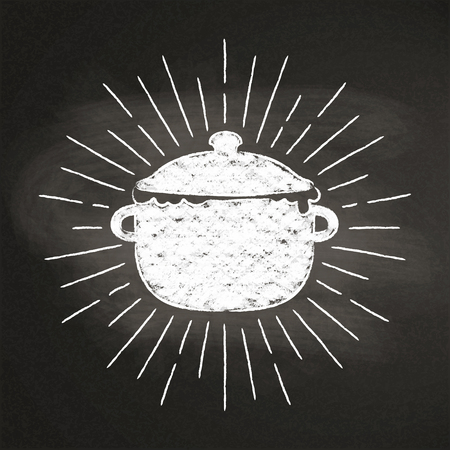Chalk silhoutte of boiling pot with vintage sun rays on blackboard.Good for cooking bades, menu design or posters.