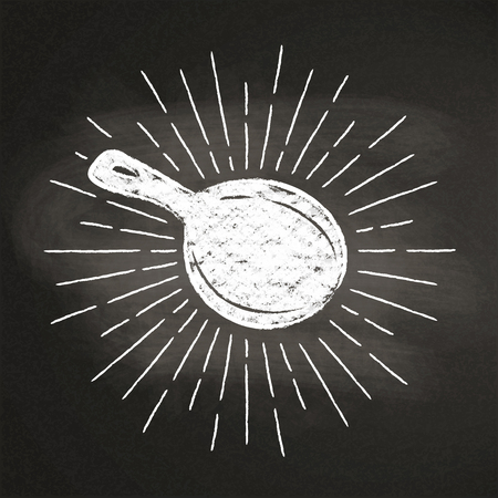 Chalk silhoutte of a pan with vintage sun rays on blackboard. Good for cooking bades, menu design or posters. Illustration