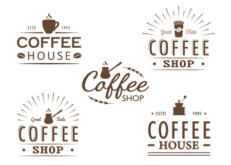 Set of vintage Coffee logo templates, badges and design elements. Logotypes collection for coffee shop, cafe, restaurant. Vector illustration. Hipster and retro style. Stock Vector - 101805449