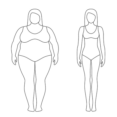 Contoured illustration of a woman before and after weight loss. Female body. Successful diet and sport concept. Slim and fat girls. Illustration