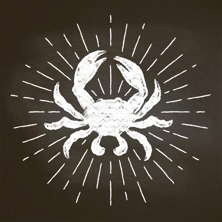 Crab chalk silhoutte with sun rays on blackboard. Good for seafood  restaurant menu design, decor, logotypes,  or posters.
