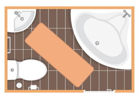 Bathroom interior top view vector illustration. Floor plan of toilet room. Flat design. Stock Vector - 106024184