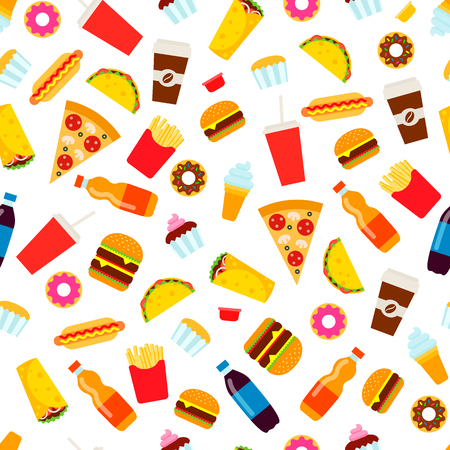 Colorful fast food seamless pattern. Junk food vector repeating background for textile design, wrapping paper, wallpaper. Illustration