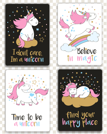 Set of cards with cartoon styled unicorns and inspirational lettering. Greeting cards with motivational quotes.
