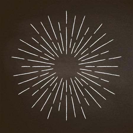 Vintage chalk textured rays on blackboard. Linear sunburst design element in retro style. Stock Vector - 106024195