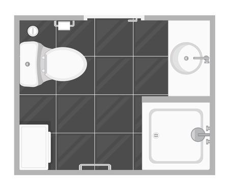 Bathroom interior top view vector illustration. Floor plan of toilet room. Flat design. Stock Vector - 106024205