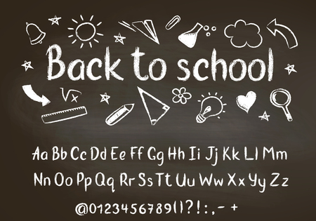 Back to school chalk text on blackboard with school doodle elements and chalk alphabet, numbers and punctuation marks. Stock Vector - 106199674