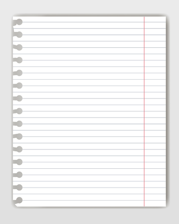 Blank lined copy book sheet with torn edge. Mockup or template of graph notepad page for yor text.