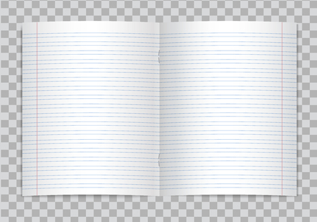 Vector opened realistic lined elementary school copybook with red margins on transparent background. Mockup or template of blank lined opened pages of notebook or exercise book with staples. 向量圖像