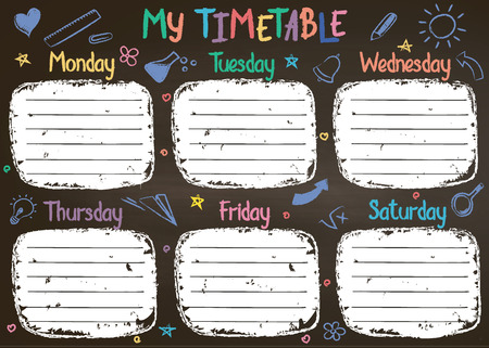 School timetable template on chalk board  with hand written colored chalk text. Weekly lessons shedule in sketchy style decorated with hand drawn school doodles on blackbord. Illustration