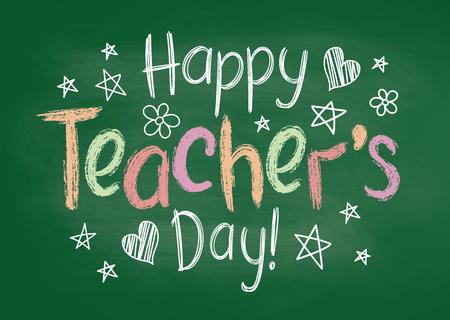 Carte de voeux Happy Teachers Day ou une pancarte à bord de craie verte dans un style fragmentaire avec des étoiles et des coeurs dessinés à la main.