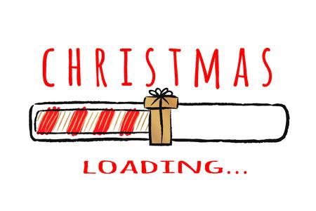 Indicatore di stato con scritta - caricamento natalizio. In stile abbozzato. Illustrazione di Natale di vettore per la progettazione di t-shirt, poster, auguri o carta di invito. Vettoriali