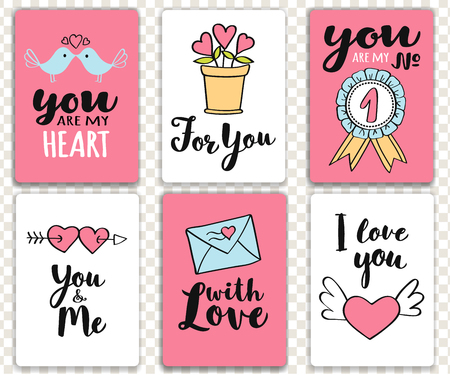 Set of  Valentines day cards with hand written lettering. Collection of Valentine Illustration for poster, t-shirt print or label. Illustration