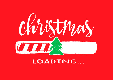 Progress bar with inscription - Christmas loading.in sketchy style on red background. Vector christmas illustration for t-shirt design, poster or greeting card. Illustration