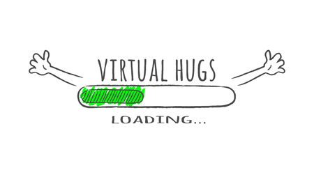 Progress bar with inscription - Virtual hugs loading and happy fase in sketchy style. Vector illustration for t-shirt design, poster or card. Illustration