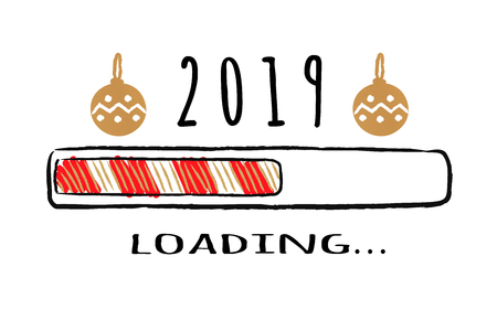 Progress bar with inscription 2019 loading and christmas balls in sketchy style. Vector New year illustration for t-shirt design, poster, greeting or invitation card.