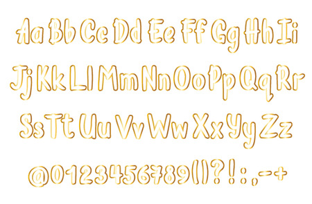 Golden alphabet  in sketchy style. Vector handwritten  letters, numbers and punctuation marks. Gold contoured handwriting font.