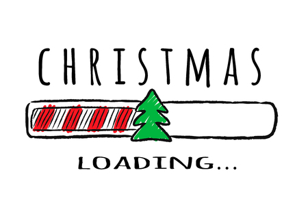 Progress bar with inscription - Christmas loading and fir-tree in sketchy style. Vector christmas illustration for t-shirt design, poster, greeting or invitation card. Illustration