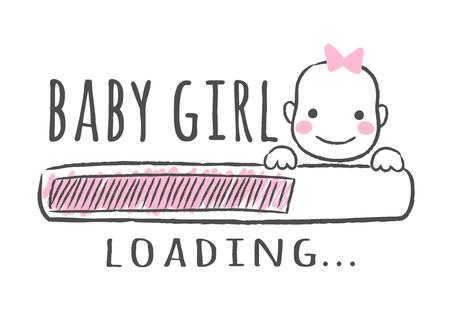 Barre de progression avec inscription - La petite fille se charge et le visage de l'enfant dans un style fragmentaire. Illustration vectorielle pour la conception de t-shirt, affiche, carte, décoration de douche de bébé