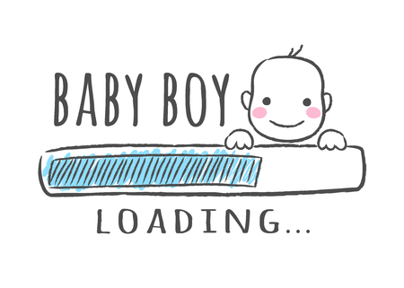 Progress bar with inscription - Baby boy is loading and kid face in sketchy style. Vector illustration for t-shirt design, poster, card, baby shower decoration