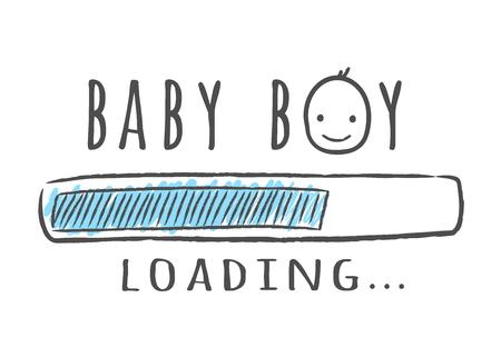 Barre de progression avec inscription - Le bébé se charge et le visage de l'enfant dans un style fragmentaire. Illustration vectorielle pour la conception de t-shirt, affiche, carte, décoration de douche de bébé