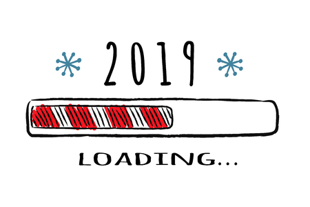 Progress bar with inscription - 2019 loading in sketchy style. Vector christmas, New Year illustration for t-shirt design, poster, greeting or invitation card.