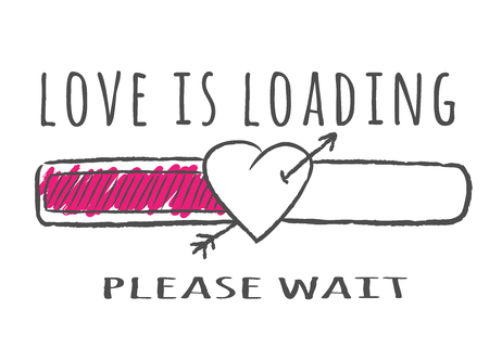 Progress bar with inscription - Love is loading and heart shape with arrow in sketchy style. Vector illustration for t-shirt design, poster or valentines card.
