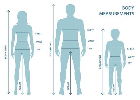 Silhouttes di uomo, donna e ragazzo a figura intera con linee di misurazione dei parametri corporei. Misure taglie uomo, donna e bambino. Misure e proporzioni del corpo umano.