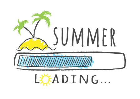 Progress bar with inscription - Summer loading and palms on the beach in sketchy style. Vector illustration for t-shirt design, poster or card.