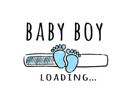 Progress bar with inscription - Baby boy loading and kid footprints in sketchy style. Vector illustration for t-shirt design, poster, card, baby shower decoration.