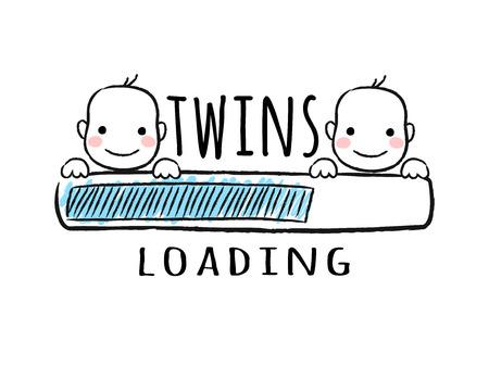 Voortgangsbalk met inscriptie - Tweelingen laden en pasgeboren jongens lachende gezichten in schetsmatige stijl. Vectorillustratie voor t-shirtontwerp, poster, kaart, babydouche decoratie