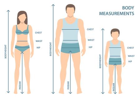 Illustrazione vettoriale di uomo, donna e ragazzo in tutta la lunghezza con linee di misurazione dei parametri del corpo. Misure taglie uomo, donna e bambino. Misure e proporzioni del corpo umano. Design piatto.