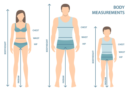 Vectorillustratie van man, vrouw en jongen in volle lengte met meetlijnen van lichaamsparameters. Maatvoering voor man, vrouw en kind. Afmetingen en verhoudingen van het menselijk lichaam. Plat ontwerp.
