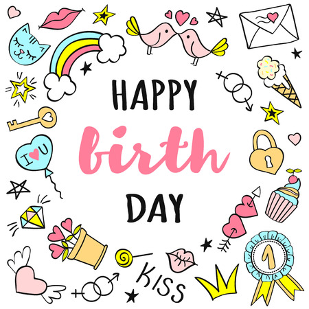 Happy birthday lettering with girly doodles for greeting card or posters. Illustration
