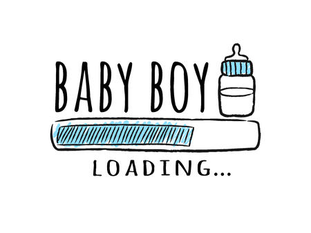 Progress bar with inscription - Baby  Boy Loading and milk bottle in sketchy style. Vector illustration for t-shirt design, poster, card, baby shower decoration.