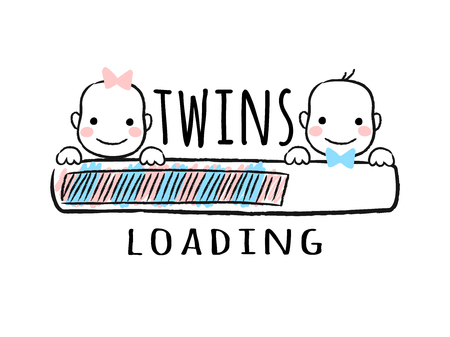 Progress bar with inscription - Twins loading and newborn boy    and girl smiling faces in sketchy style. Vector illustration for t-shirt design, poster, card, baby shower decoration