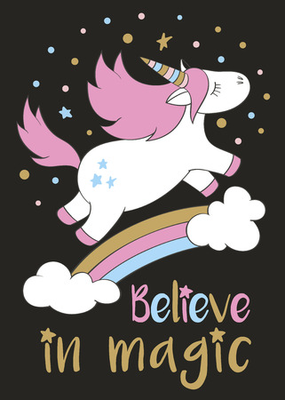 Magic cute unicorn in cartoon style with hand lettering Believe in magic. Doodle unicorn flying above a rainbow and clouds vector illustration for cards, posters,kids t-shirt prints, textile design. Illustration