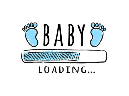 Progress bar with inscription - Baby  loading and kid footprints in sketchy style. Vector illustration for t-shirt design, poster, card, baby shower decoration.