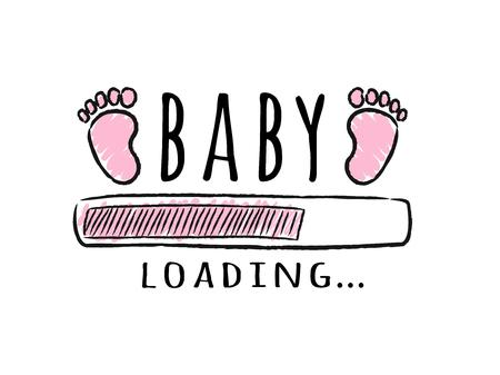 Barra de progreso con inscripción: carga de bebés y huellas de niños en estilo esquemático. Ilustración de vector de diseño de camiseta, cartel, tarjeta, decoración de baby shower. Ilustración de vector
