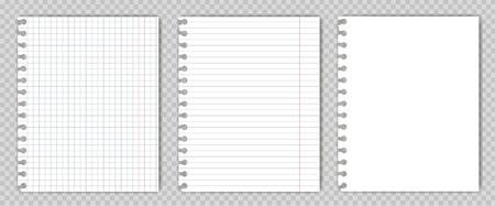 Conjunto de hojas de libro de copia en blanco con bordes rasgados. Maqueta o plantilla de la página del bloc de notas gráfico para su texto.