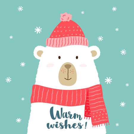 Vector illustration of cute cartoon bear in warm hat and scarf with hand written lettering - Warm Wishes - for placards, t-shirt prints, greeting  christmas cards.